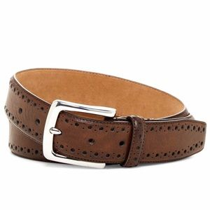 Cole Haan Men's Belt in Brown w/ Perforated Trim